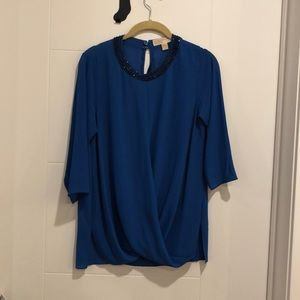 Michael Kors Blue Blouse with Rhinestone Neckline